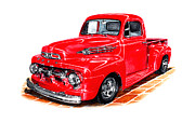 Fords Posters - 1952 Ford F-100 Pick Up Poster by Jack Pumphrey