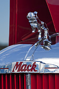Truck Photos - 1952 L Model Mack Pumper Fire Truck Hood Ornament by Jill Reger
