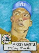 Rookie Paintings - 1952 Mickey Mantle Rookie Card Original Painting by Joseph Palotas