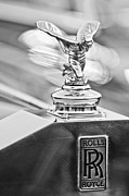 Black And White Photograph Of  Posters - 1952 Rolls-Royce Silver Wraith Hood Ornament 2 Poster by Jill Reger