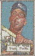 Yankees Prints - 1952 Topps Mickey Mantle Rookie Card Mosaic Print by Paul Van Scott