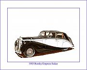 Images Drawings Framed Prints - 1953 Bentley Empress Sedan Framed Print by Jack Pumphrey