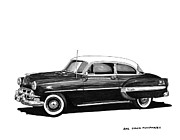 70s Drawings - 1953 Chevrolet Post 2 dr sedan by Jack Pumphrey