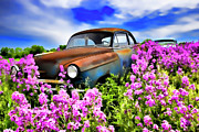 Wildflower Originals - 1953 Chevy Coupe and Dames Rocket - D001095b by Daniel Dempster