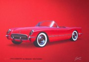 T-bird Posters - 1953 CORVETTE classic vintage sports car automotive art Poster by John Samsen