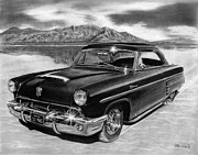 Charcoal Car Posters - 1953 Mercury Monterey on Bonneville Poster by Peter Piatt
