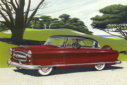 Vintage Auto Prints - 1953 Nash Rambler car americana rustic rural country auto antique painting red golf Print by Walt Curlee