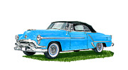 Note Cards Drawings Acrylic Prints - 1953 Oldsmobile 98 Convert Acrylic Print by Jack Pumphrey