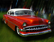 Car Show Prints - 1954 Bel Air Custom 02 Print by Peter Piatt