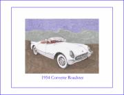 Corvette Drawings - 1954 Corvette Roadster by Jack Pumphrey