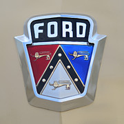 Ford V8 Prints - 1954 Ford Customline Emblem Close Up Print by Paul Ward