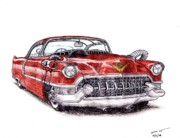 Caddy Drawings Prints - 1955 Cadillac Series 62 Print by Dan Poll