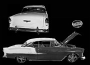 General Motors Company Prints - 1955 Chevy Bel Air 2 door Hard Top Print by Tim Mulina