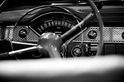 Chevy Photos - 1955 Chevy Bel Air Dashboard in Black and White by Sebastian Musial