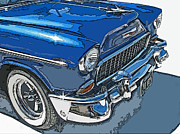 Samuel Sheats Posters - 1955 Chevy Bel Air Front Study Poster by Samuel Sheats