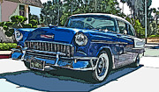 Sam Sheats Photo Framed Prints - 1955 Chevy Bel Air Framed Print by Samuel Sheats