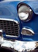Blue Classic Car Posters - 1955 Chevy Front End Poster by Anna Lisa Yoder