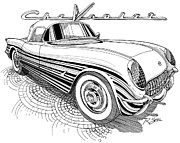 Corvette Drawings - 1955 Corvette by Rod Seel