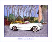 Corvette Drawings - 1955 Corvette Six Roadster by Jack Pumphrey