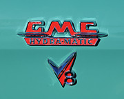 Car Carrier Photos - 1955 GMC Suburban Carrier Pickup Truck Emblem by Jill Reger