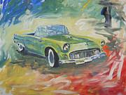 1955 Green Tbird Print by Candace Nalepa