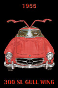 Sports Framed Prints Prints - 1955 Mercedes Benz 300SL Gull Wing  Print by Jack Pumphrey
