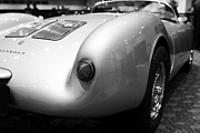 Black And White Photos Framed Prints - 1955 Porsche 550 RS Spyder . Black and White Photograph . 7D9453 Framed Print by Wingsdomain Art and Photography