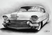 Hotrod Drawings Posters - 1956 Cadillac drawing Poster by John Harding