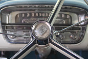 Grau Framed Prints - 1956 Cadillac Steering Wheel Framed Print by Linda Phelps