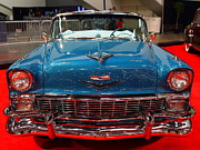 American Car Art - 1956 Chevrolet Bel-Air Convertible . Blue . 7D9246 by Wingsdomain Art and Photography