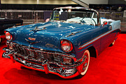 Transportation Tapestries Textiles Prints - 1956 Chevrolet Bel-Air Convertible . Blue . 7D9248 Print by Wingsdomain Art and Photography