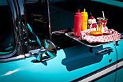 Car Detail Prints - 1956 Chevy Bel Air  I said no pickles where is that Carhop Print by David Patterson