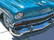 Sam Sheats Framed Prints - 1956 Chevy Bel Air Nose Study Framed Print by Samuel Sheats