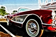 Fractalius Art Posters - 1956  Corvette Poster by Paul Ward