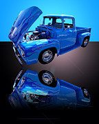 1956 Ford Truck Framed Prints - 1956 Ford Blue Pick-up Framed Print by Jim Carrell