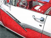 Americana Drawings Prints - 1956 Ford Fairlane Convertible 2 Print by Rob De Vries