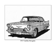 Door Drawings Posters - 1957 Cadillac 4 door Brougham Poster by Jack Pumphrey