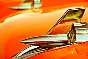 Antique Car Art Prints - 1957 Chev Bel Air Hood Fins Print by John  Bartosik