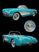 Bill Dutting Posters - 1957 Chevrolet Corvette Poster by Bill Dutting