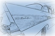Tail Fin Prints - 1957 Chevy Tail Fin in Pencil Print by Paul Ward
