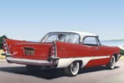 Retro Paintings - 1957 De Soto car nostalgic rustic americana antique car painting red  by Walt Curlee