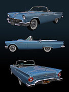 T-bird Posters - 1957 Ford Thunderbird Poster by Bill Dutting