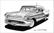 80s Drawings Framed Prints - 1957 Oldsmobile Super 88 Framed Print by Jack Pumphrey
