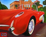 1957 Corvette Prints - 1957 Red Corvette Print by Dean Glorso
