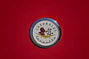 Logos Posters - 1957 Red Corvette Emblem Poster by Susan Candelario