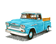 Blue Chevy Prints - 1958 Chevrolet Apache Pick up Print by Jack Pumphrey