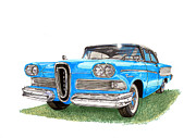 Red Edsel Posters - 1958 Edsel 2 door Hard Top Poster by Jack Pumphrey