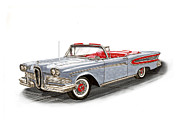 Red Edsel Posters - 1958 Edsel Citation Convertible Poster by Jack Pumphrey
