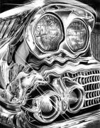 Graphite Art Originals - 1958 Impala Beauty Within the Beast by Peter Piatt