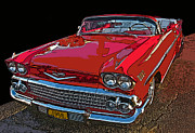 Sam Sheats Framed Prints - 1958 Red Chevrolet Impala Convertible Framed Print by Samuel Sheats